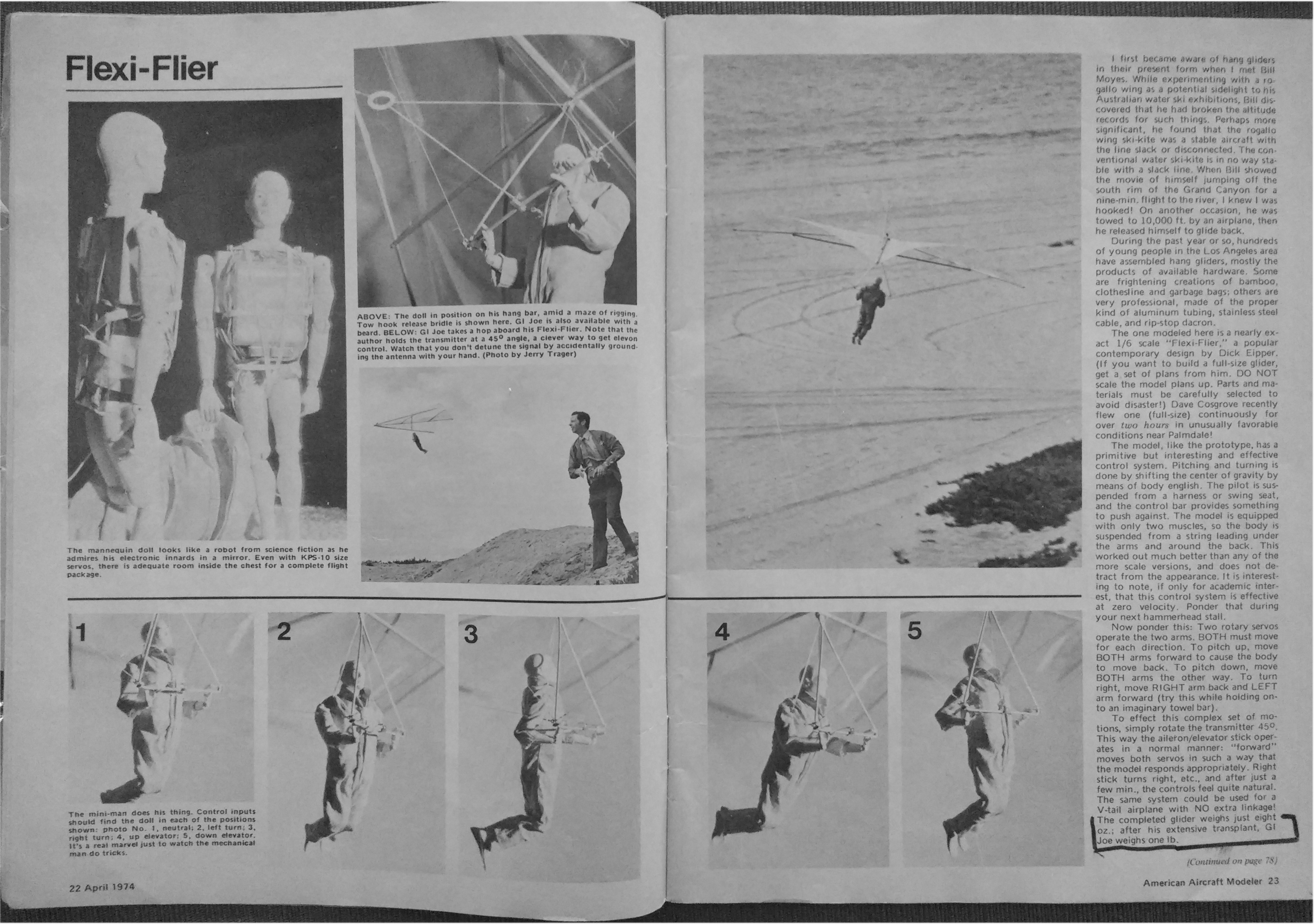 "American Modeler Magazine, April 1974 ""Flexi-Flier"" Article Photos"
